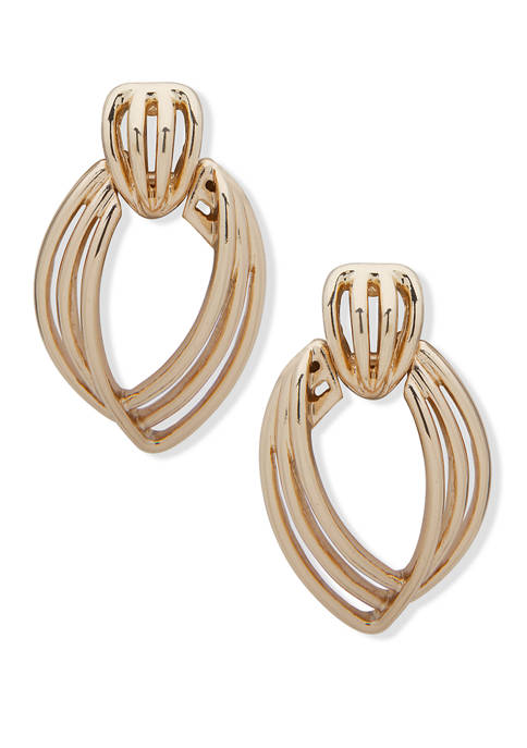Gold-Tone EZ Comfort Clip Openwork Doorknocker Drop Earrings