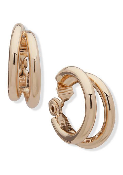 Anne Klein Gold-Tone EZ Comfort Clip Tubular Double