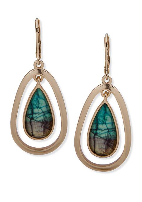 Anne Klein Gold-Tone Turquoise Aventura Orbital Earrings