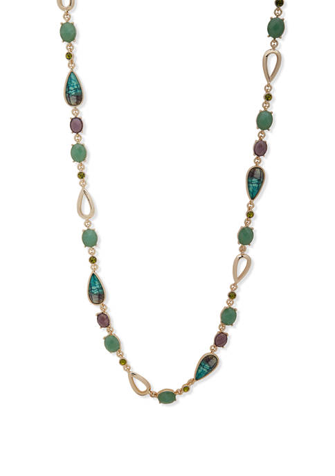 Gold-Tone Turquoise 42 Inch Aventura Strand Necklace