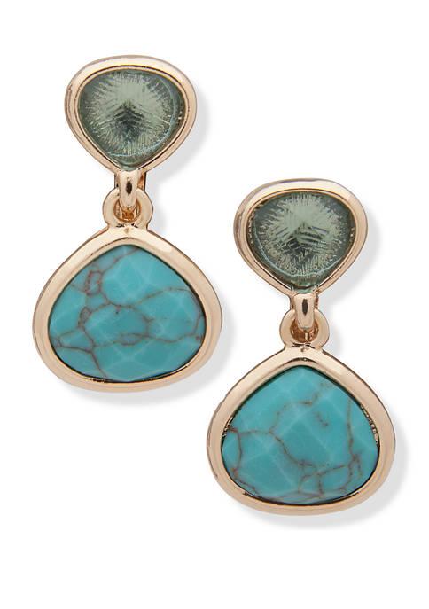 Anne Klein Gold-Tone Turquoise EZ Comfort Clip Double