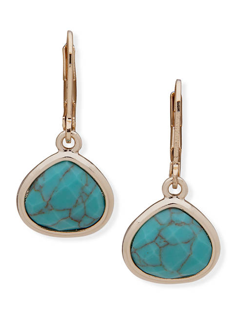 Anne Klein Gold-Tone Turquoise Stone Drop Earrings