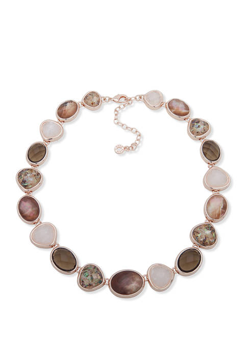 Rose Gold Taupe Stone Collar Necklace