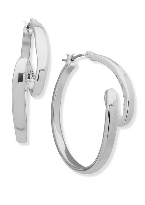 Anne Klein Silver Tone Ribbon Hoop Earrings