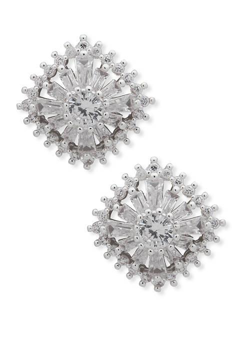 Silver Tone Crystal Multi Stone Stud Earrings