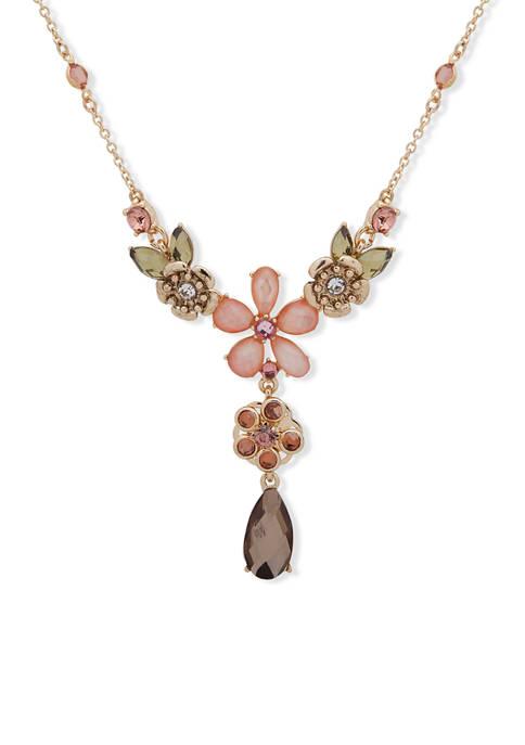 Gold Tone Blush Flower Y Necklace