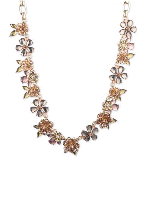 Gold Tone Blush Stone Flower Collar Necklace