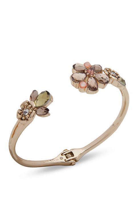 Gold Tone Blush Flower Hinge Bracelet