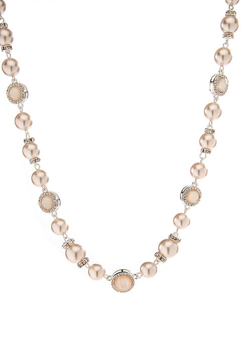 16 Inch Pink Pearl Crystal Collar  Necklace