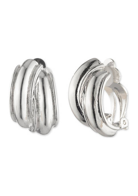 Anne Klein Silver Tone Button Clip Earrings