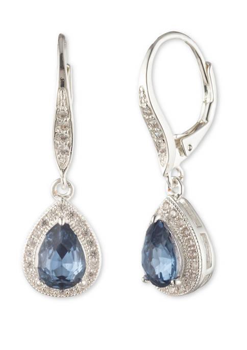 Silver Tone Denim Pear Earrings