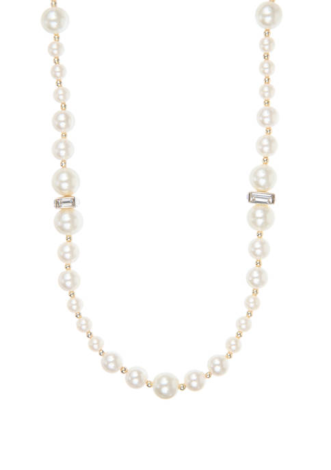 Anne Klein Gold Tone Crystal Pearl 42 Inch