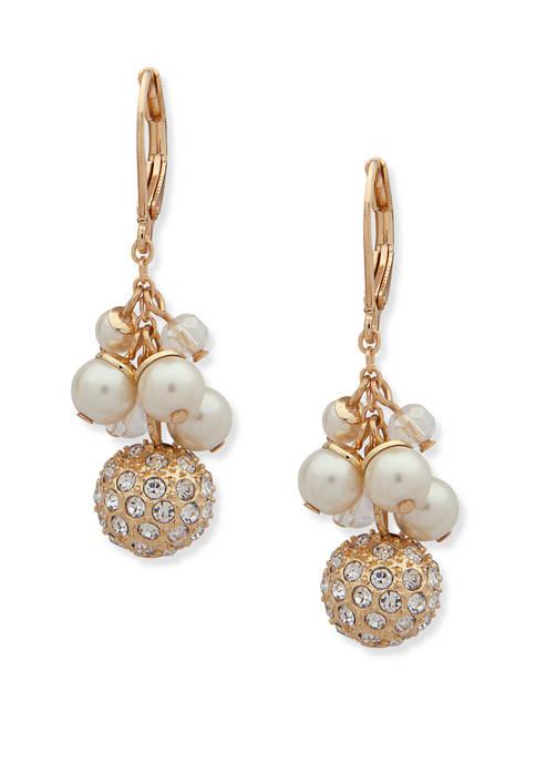 Anne Klein Gold Tone Pearl Shaky Drop Earrings
