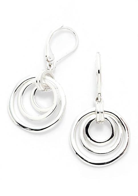 Anne Klein Organic Orbital Drop Silver Tone Earrings