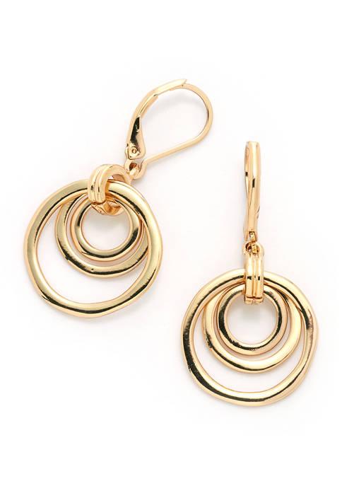 Anne Klein Organic Orbital Drop Gold-Tone Earrings