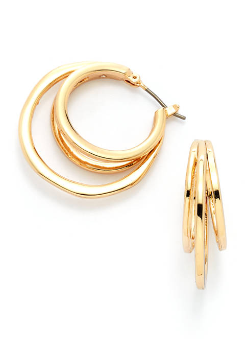 Organic Gold-Tone Hoop Earrings