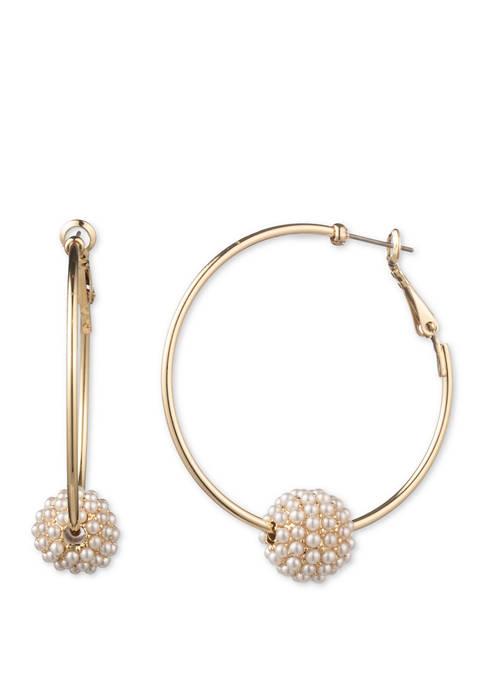 Gold Tone Blanc Click Top Hoop Caviar Pearl Earrings