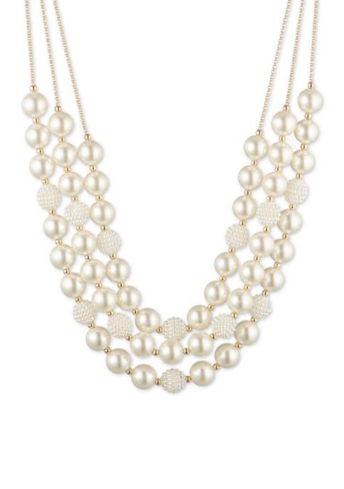 Anne Klein Gold Tone Pearl 3 Row Caviar