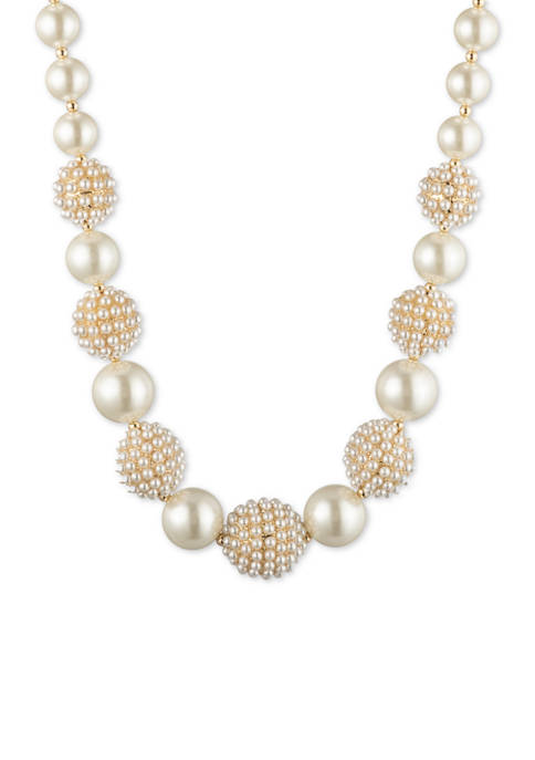 Gold-Tone White Pearl Collar Necklace