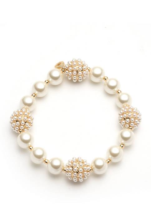 Gold Tone Pearl Stretch Bracelet