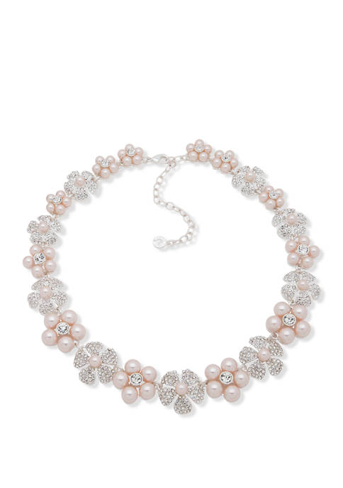Anne Klein Silver Tone Pink Collar Flower Necklace