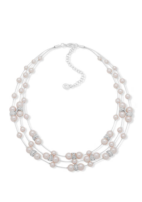 Silver Tone Pink Pearl X Illusion Necklace