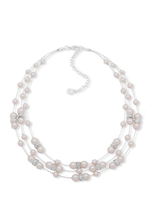 Anne Klein Silver Tone Pink Pearl X Illusion