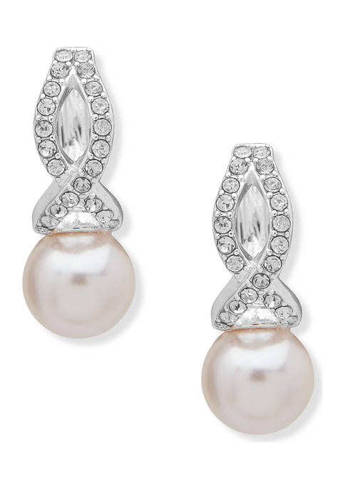 Silver Tone Pink Hoop Pearl X Pave Earrings