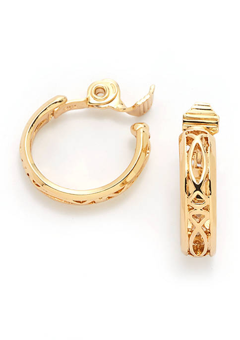 Open Work Gold Tone Hoop Earrings