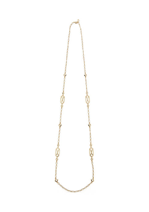 42 Inch Open Work Stations Gold Tone Necklace