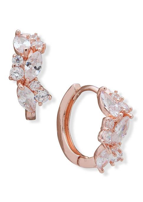 Rose Gold Tone Pierced Huggie Hoop Earrings with Navettes