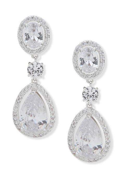 Anne Klein Silver Tone Pierced Double Drop Earrings