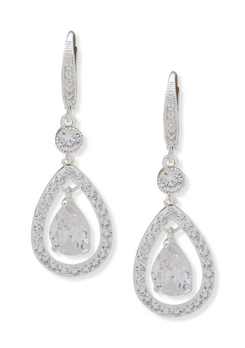 Anne Klein Silver Tone Pave Stone Orbital Earrings