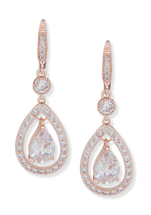 Rose Gold Tone Pave Stone Orbital Earrings with Crytals