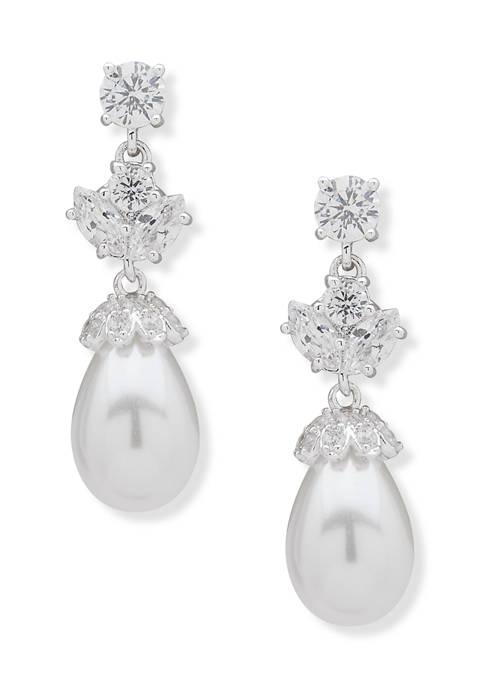 Anne Klein Silver Tone Pearl Tear Drop Earrings