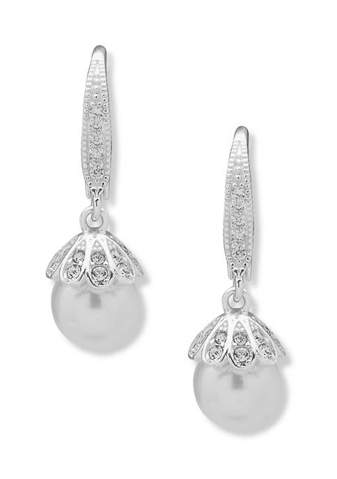 Silver Tone Lever Back Pearl Drop Earrings