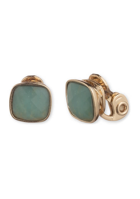 Gold-Tone Cushion Stone Button Pacific Opal EZ Comfort Clip Earrings