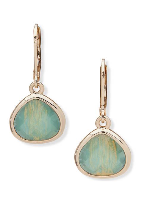 Gold Tone Pacific Opal Teardrop Earrings