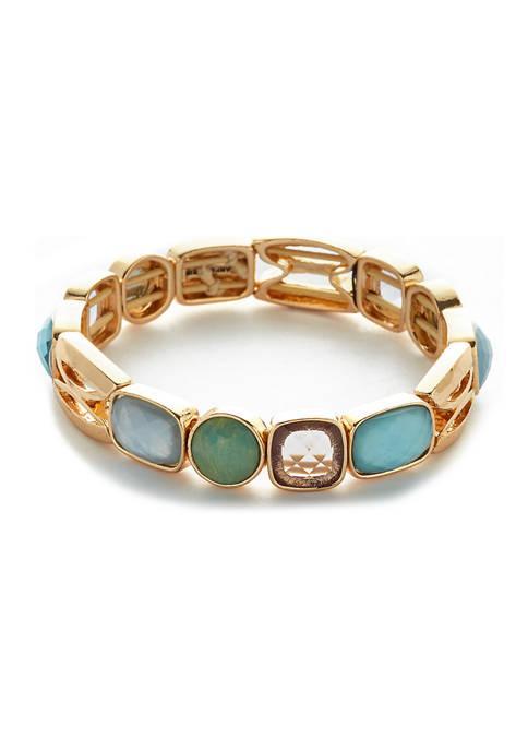 Gold Tone Stretch Stone Bracelet