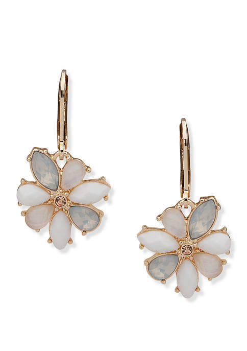 Anne Klein Gold Tone White Multi Flower Drop