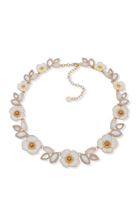 Anne Klein Gold Tone White Multi Flower Collar