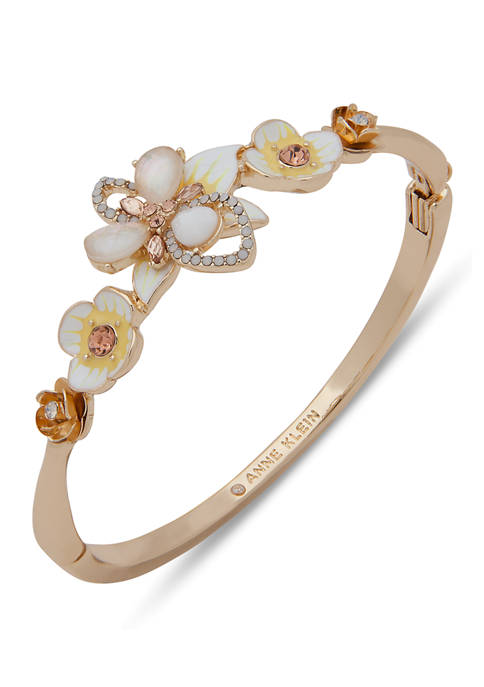 Anne Klein Gold Tone White Multi Hinge Flower