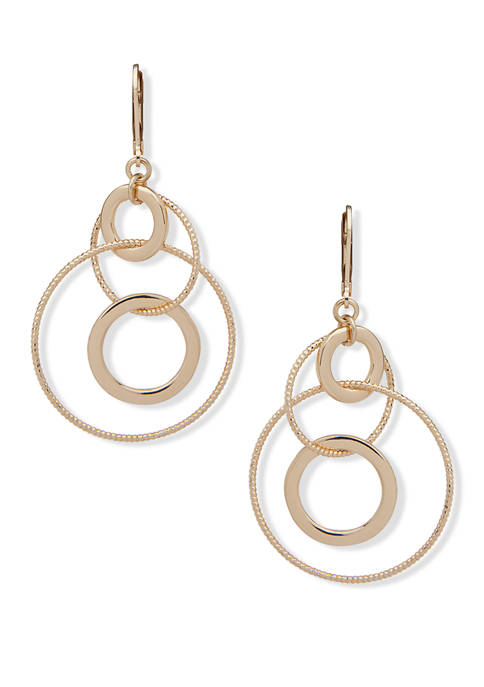 Anne Klein Gold Tone Multi Ring Orbital Earrings