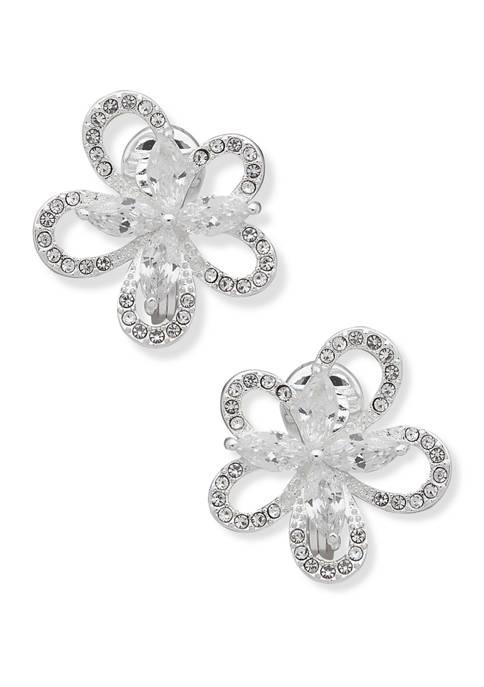 Silver Tone Crystal EZ Comfort Clip Flower Button Earrings