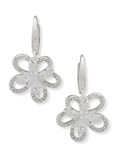Anne Klein Silver Tone Crystal Flower Drop Earrings