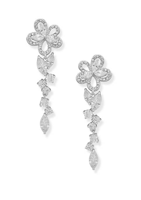 Anne Klein Silver Tone Crystal Flower Post Linear
