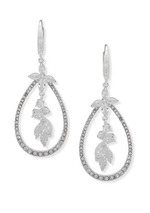 Anne Klein Silver Tone Flower Orbital Earrings