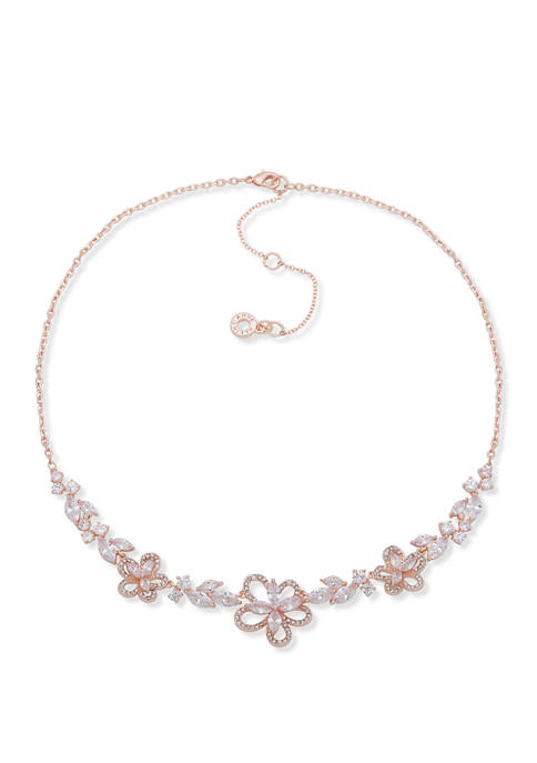 Rose Gold Tone Flower Frontal Necklace