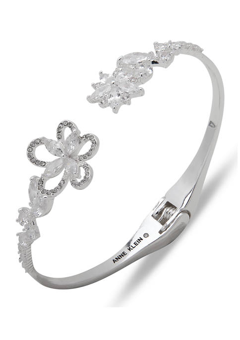 Anne Klein Silver Tone Crystal Flower Hinge Bangle