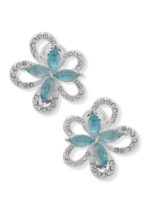Anne Klein Silver-Tone Aqua Crystal EZ Comfort Clip